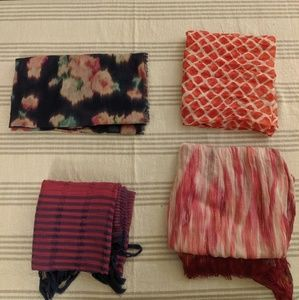 (4) Lightweight Multicolored Scarves